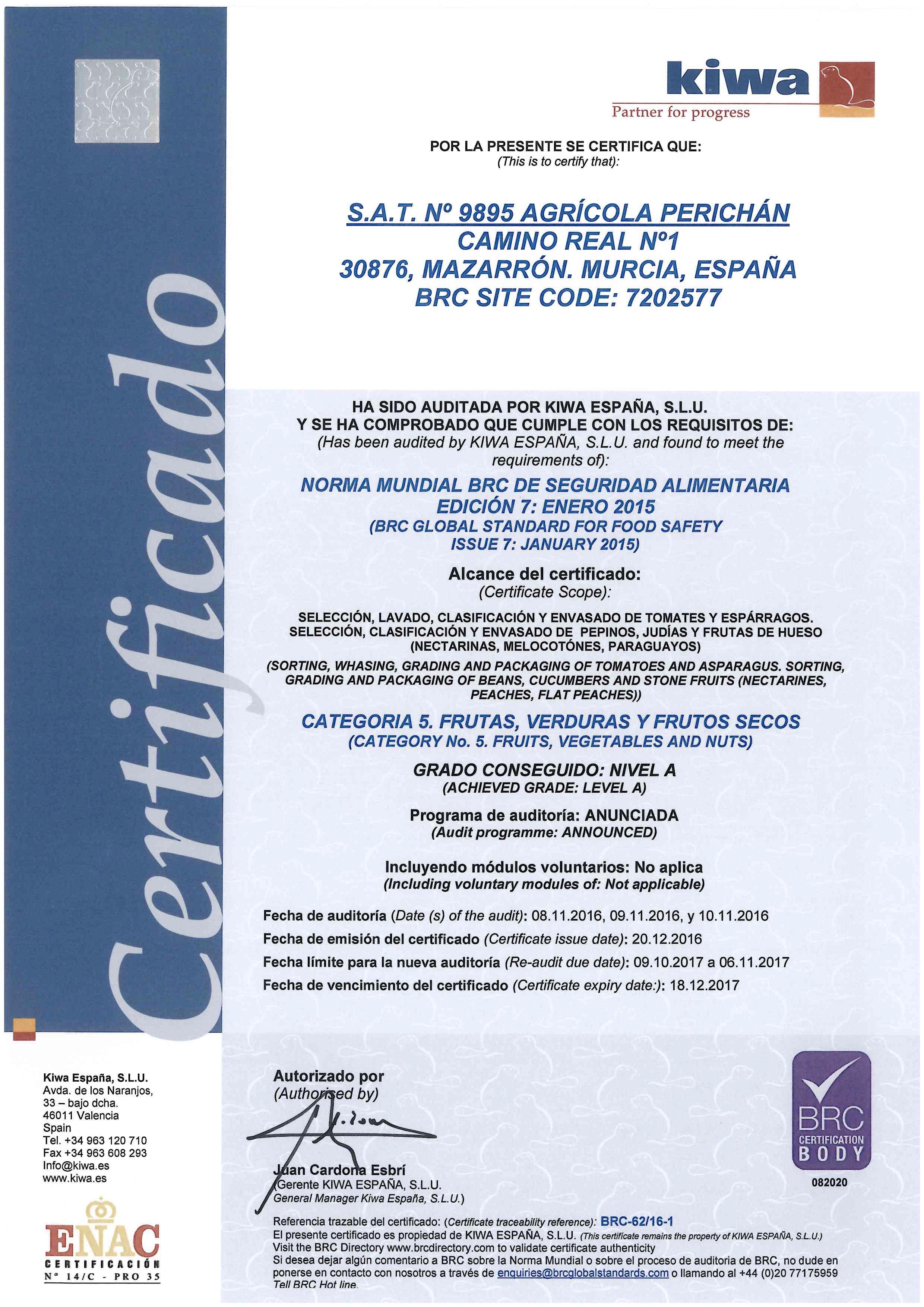 Carta Certificado BRC SAT 9895 AGR