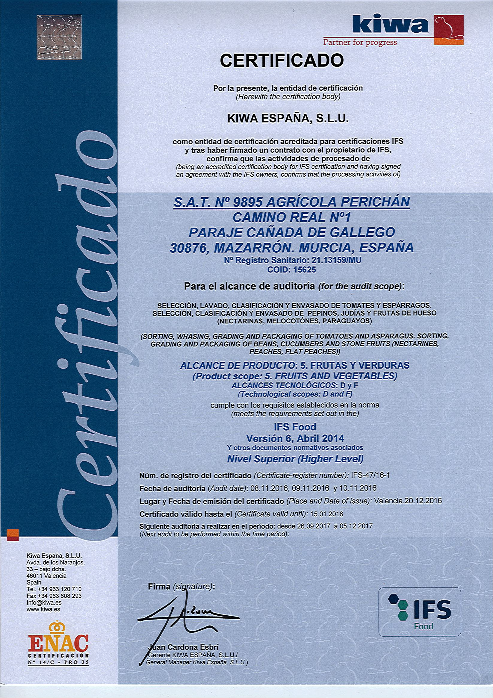 Certificado IFS FOOD SAT9895 AGRICOLA PERICHAN