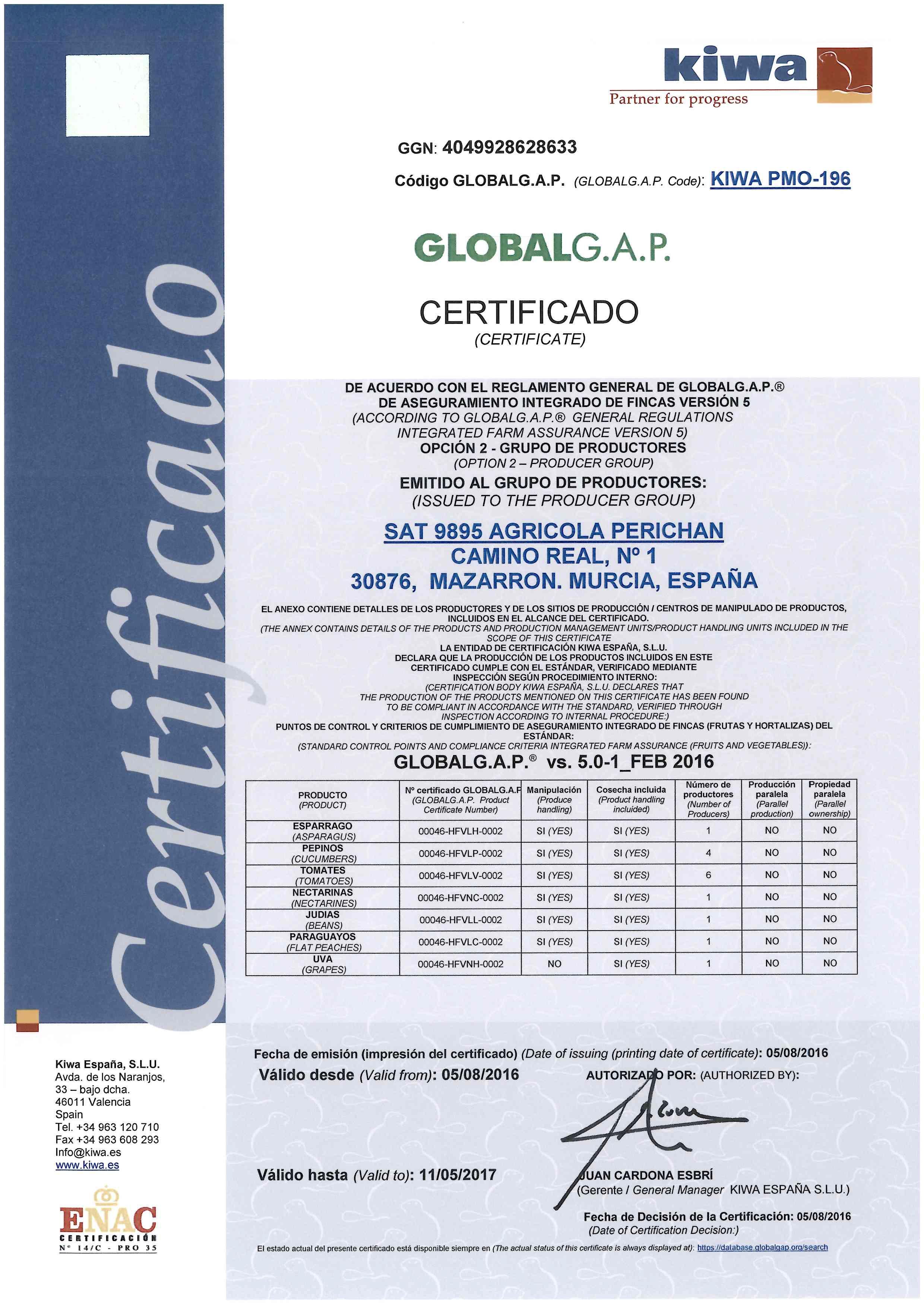 certificado GLOBALGAP AGRICOLA PERICHAN 16